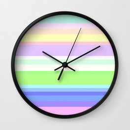 Green pink blue bright striped Wall Clock