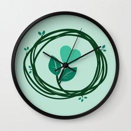 Cute heart in a nest Wall Clock