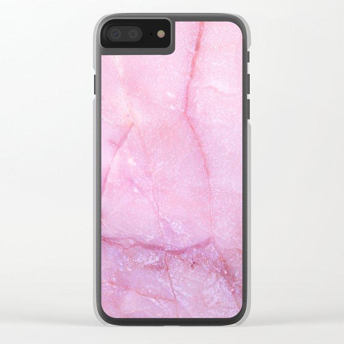 Rose Quartz Marble Clear iPhone Case