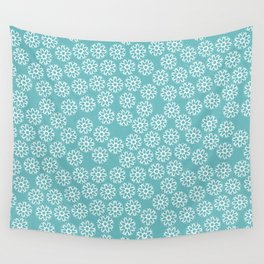 Artistic hand painted pastel teal white snow flakes pattern Wall Tapestry