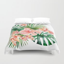 Tropical Jungle Hibiscus Flowers - Floral Duvet Cover