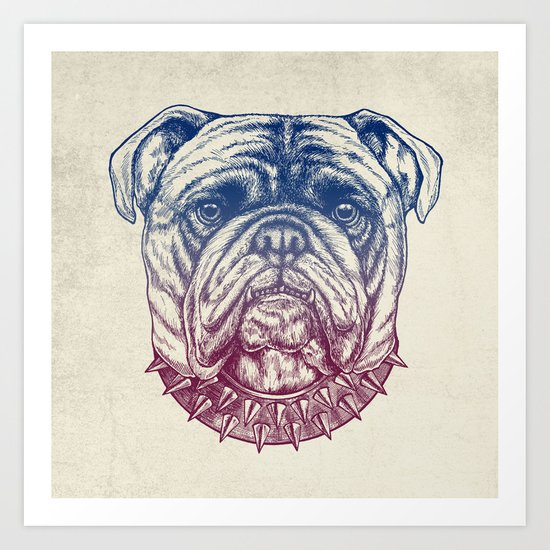 Gritty Bulldog Art Print