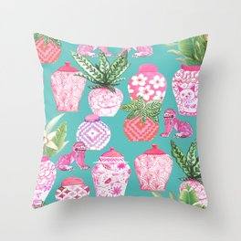 Pink Chinese ginger jars on teal with calathea plants and palms Throw Pillow