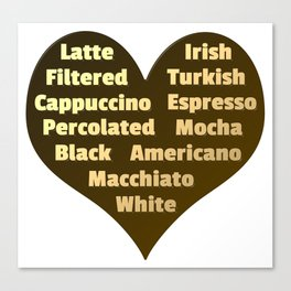 Love for Coffee Canvas Print