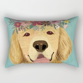 Golden Retriever Dog with Floral Crown Art Print – Funny Decoration Gift – Cute Room Decor – Poster Rectangular Pillow