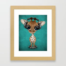 Cute Baby Giraffe Dj Wearing Headphones on Blue Framed Art Print