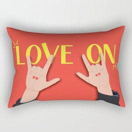 Love On Sign (I Love You) Language Hands - Red and Yellow Colorway Rectangular Pillow