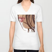 mouth V-neck T-shirts featuring Mouth by Derek Donovan
