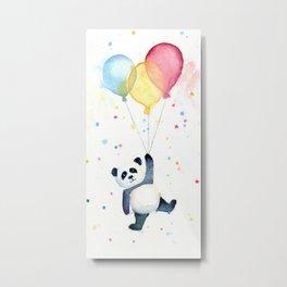 Birthday Panda Balloons Cute Animal Watercolor Metal Print