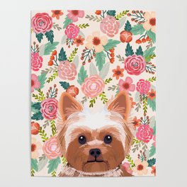 Yorkshire Terrier floral dog portrait pink cute art gifts for yorkie dog breed lovers Poster