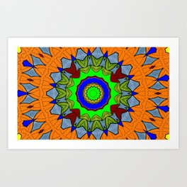 Lovely Healing Mandala  in Brilliant Colors: Orange, Royal Blue, Gray, Olive, Green, and Maroon Art Print