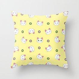 Glamour Cat Yellow Throw Pillow