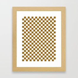 Small Checkered - White and Golden Brown Framed Art Print