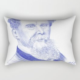 Charles Dickens Portrait In Blue Bic Ink Rectangular Pillow