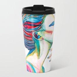 Colorful ink drawing of a women, ink art, girl illustration, modern women art Metal Travel Mug