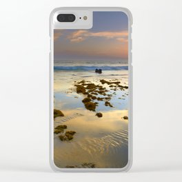 Sunset reflections at the sea. Tarifa beach Clear iPhone Case
