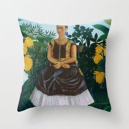 Frida's Garden, Frida Kahlo's Casa Azul, Coyoacán, Mexico rainforest floral landscape painting Throw Pillow