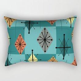 Mid Century Modern Starburst Diamonds Turquise & Teal Rectangular Pillow
