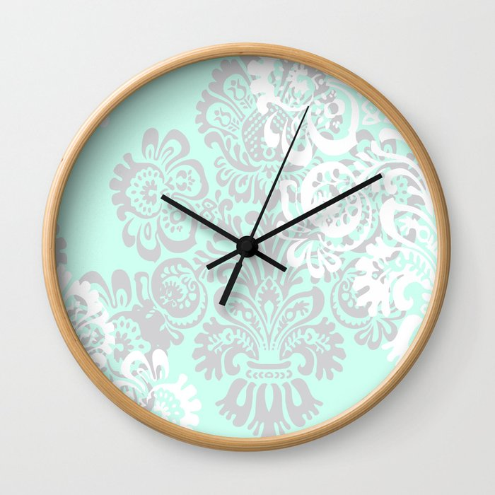 Damask Print in Mint and Gray Wall Clock