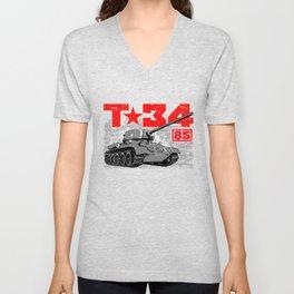 T-34-85 Soviet medium tank Unisex V-Neck
