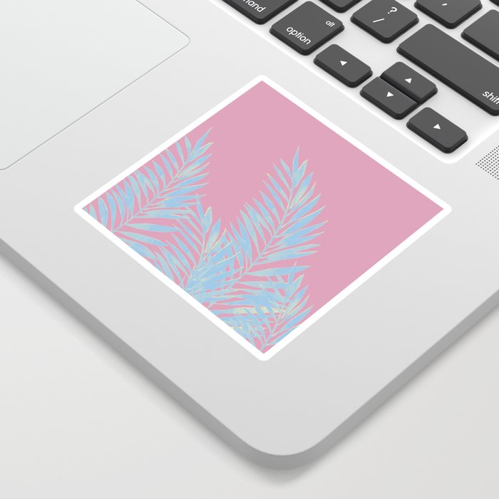 Palm Leaves Blue And Pink Sticker
