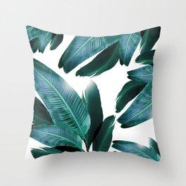 Banana leaf, Tropical palm leaf, banana palm, Flowing palms, blues, turquoise, Hawaii, beach decor Throw Pillow