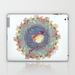 Small Bird With Wildflowers And Holly Wreath Laptop & iPad Skin
