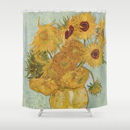 Vase with Twelve Sunflowers, Van Gogh Shower Curtain