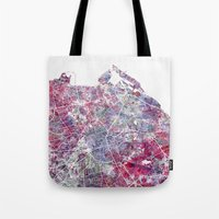 edinburgh Tote Bags featuring Edinburgh Map by MapMapMaps.Watercolors