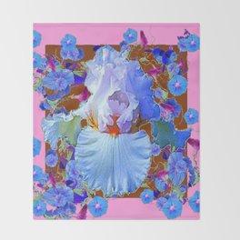 PASTEL IRIS & BLUE MORNING GLORIES PINK PATTERNS Throw Blanket