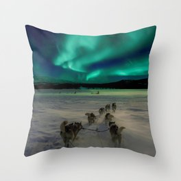 Winter Northern Lights Dog Sled (Color) Throw Pillow