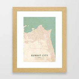 Kuwait City, Kuwait - Vintage Map Framed Art Print