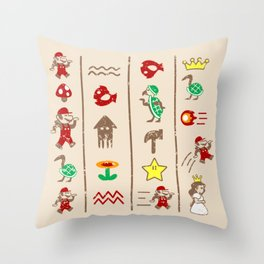 The Legend of Mario Throw Pillow