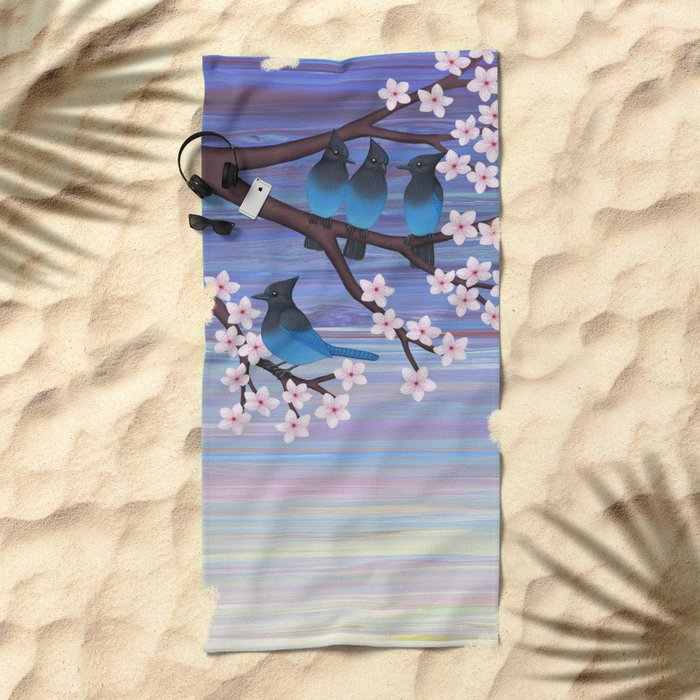 Steller's jays and cherry blossoms Beach Towel
