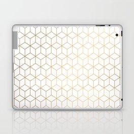 Gold Geometric Pattern on White Background Laptop & iPad Skin