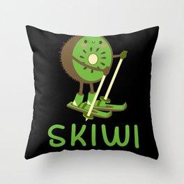 Skiwi Skier Skiing Kiwi Fruit Winter Sport Throw Pillow