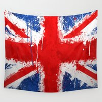 british Wall Tapestries featuring BRITISH FLAG by Sophie
