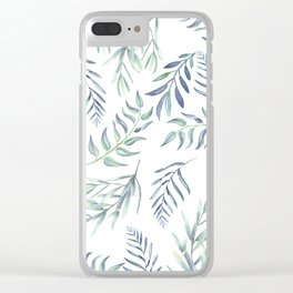 Floating Leaves Blue #society6 #buyart Clear iPhone Case