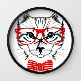 Hipster Cat with Red Glasses Wall Clock