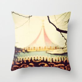 Carousel Goes Round and Round Throw Pillow