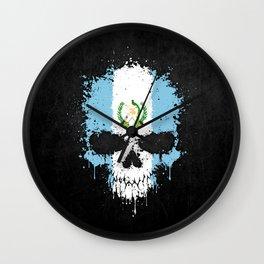 Flag of Guatemala on a Chaotic Splatter Skull Wall Clock
