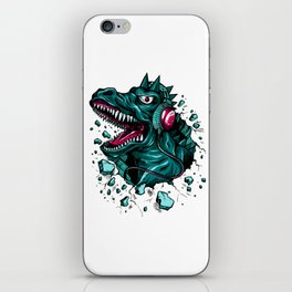 Dino with Headphones Green Cyprus iPhone Skin