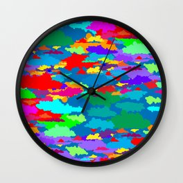 Neon Clouds Wall Clock