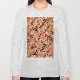 Orange,Black Marbling Long Sleeve T-shirt