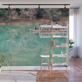 Riding Around Arashiyama, Boats and Trees Reflected in the Canals Wall Mural