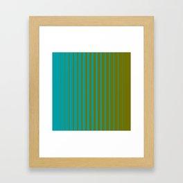 gradient stripes aqua olive Framed Art Print