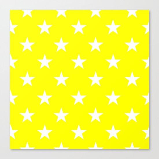 Stars (White/Yellow) Canvas Print