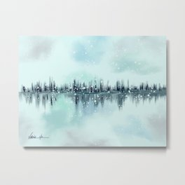 Abstract Winter Cityscape Skyline Metal Print