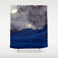 storm Shower Curtains featuring storm by agnes Trachet