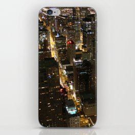 Downtown Chicago at Night, Fine Art Photography iPhone Skin